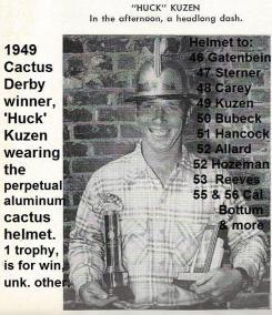 1992 4-25 a21 Riverside Bombers 1949 Cactus Derby winner Huck Kuzen & trophy helmet