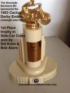 1992 4-25 a39 1953 1st Place SIDE CAR Del Kuhn, Riverside Bombers MC trophy