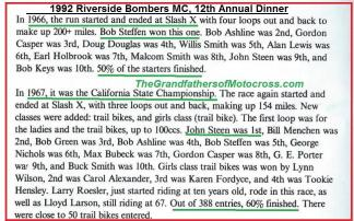 1992 4-25 a54 1966 Bob Steffan, Ashline, Casper, Douglas, W. Smith, A. Lewis, Holbrook, Malcom Smith & 1967 CACTUS DERBY