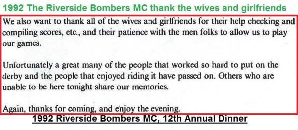 1992 4-25 a60 Personal Thanks from Riverside Bombers Dinner
