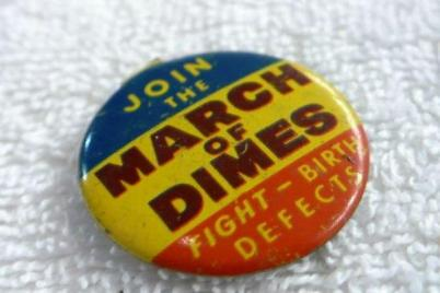 AMA 1953 4-0z3 pin given for donation to March of Dimes