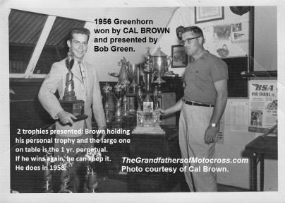 1956 a2b Greenhorn trophy Pasadena MC Bob Greene & winner Cal Brown