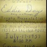 1957 6-1b0 Eddie Day Greenhorn Presentation awards notice