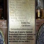 2015 a2 Greenhorn perpetual Trophy name plate, Cal Brown won 1956 & 58
