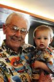 Grandpa Del & Logan in matching shirts