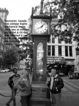 June, Del & Ed checking out The Steam clock in Gastown, Vancouver