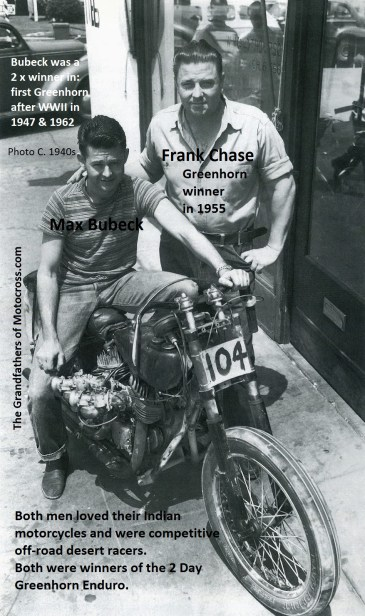 1955 a13 but photo1940s FRANK CHASE & Max Bubeck on his Indian Chout motorcycle