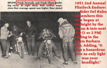 1955 a14 but in 1951 2nd Annual Flintlock Enduro Frank Chase & Frank Kennedy