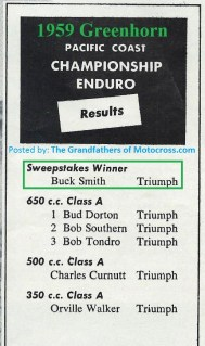 1959 Greenhorn a4 results, BUCK SMITH wins