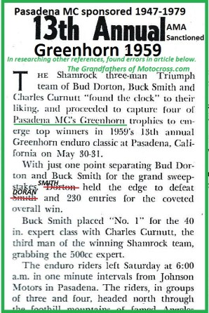 1959 Greenhorn a7 Shamrock MC BUD DORTON & BUCK SMITH won