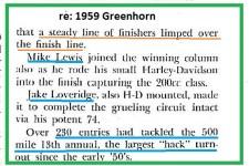 1959 Greenhorn a9 Mike Lewis 200 cc & J. Loveridge on HD.