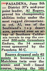 1960 Greenhorn r5 500 mile, Al Rogers win only loss of 62 pts.