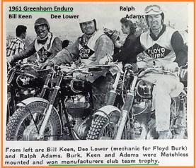 1961 Greenhorn 24c BILL KEEN, DEE LOWER 4 Floyd Burk & RALPH ADAMS win trophy