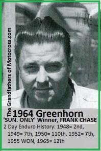 1964 Greenhorn z19 veteran Frank Chase won SUN. ONLY..
