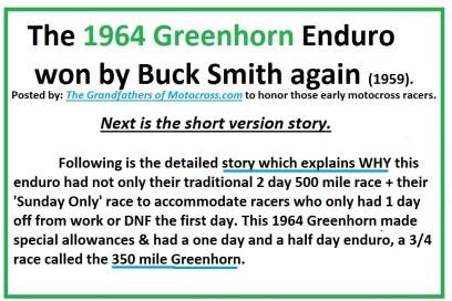 1964 Greenhorn z5 Buck Smith wins 500 & Oakley 350 special
