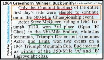 1964 Greenhorn z8 Steve McQueen & Bud Ekins 350 m results