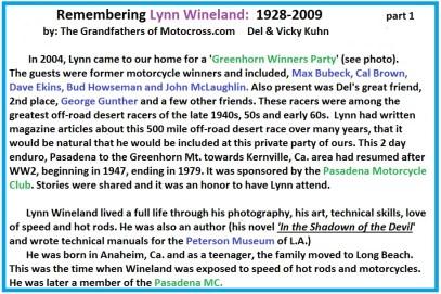 Bio of Lynn Wineland a2 hot rod editor, PMC member, artist