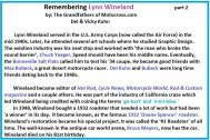 Bio of Lynn Wineland a3 editor, PMC, artist C. Yeager, Bubeck, go-kart, mini bikes