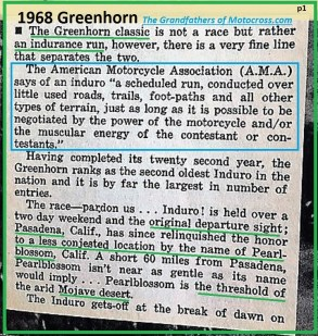1968 b3 Greenhorn, AMA enduro description