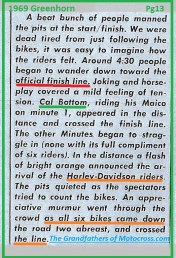 1969 Greenhorn M15 CAL BOTTUM, Finish line & all H-D team finish