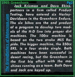 1969 Greenhorn M4 Jack Krizman, Dave Ekins, H-D dirt bikes