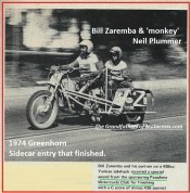 1974 a39b Greenhorn, BILL ZAREMBA on sidecar