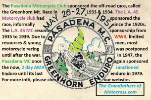 1974 a4 Greenhorn sponsored by Pasadena MC Legacy sponsors 1947-1979