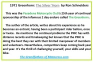 1971 Greenhorn B0 Story title, The Silver Horn on 25th Anniversary of the Greenhorn