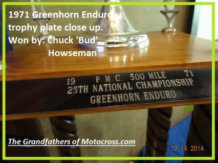 1971 Greenhorn a11 Bod Howseman Greenhorn winner trophy