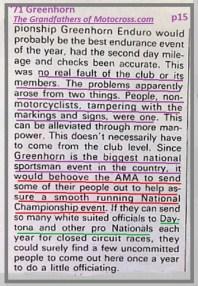 1971 Greenhorn d33 problems & AMA, National & Daytona