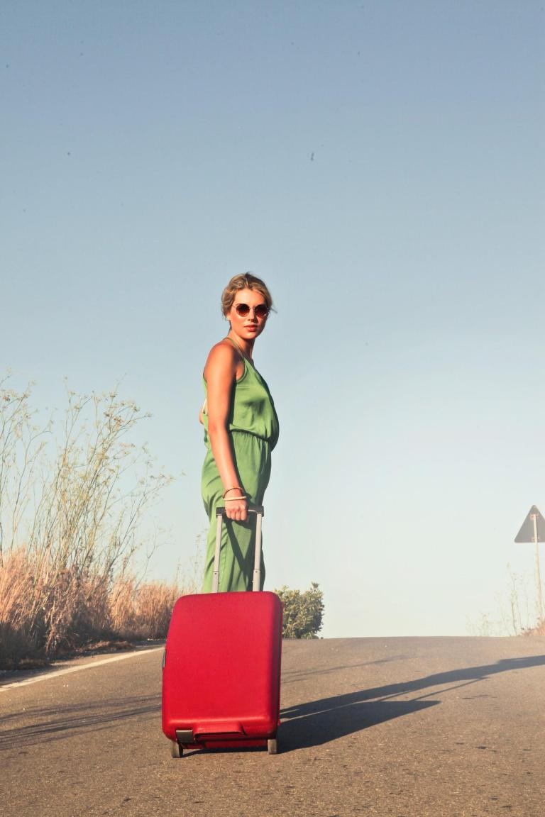 Lady with rolling luggage