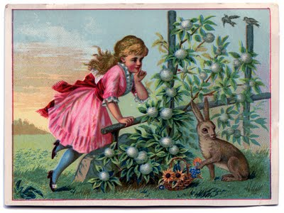 Victorian Graphic Little Girl With Rabbit The Graphics