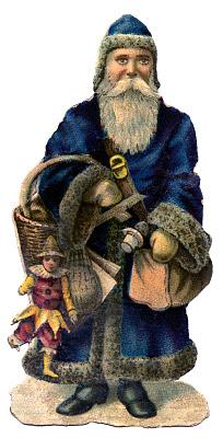 Vintage Christmas Graphic Old World Santa In Blue Coat