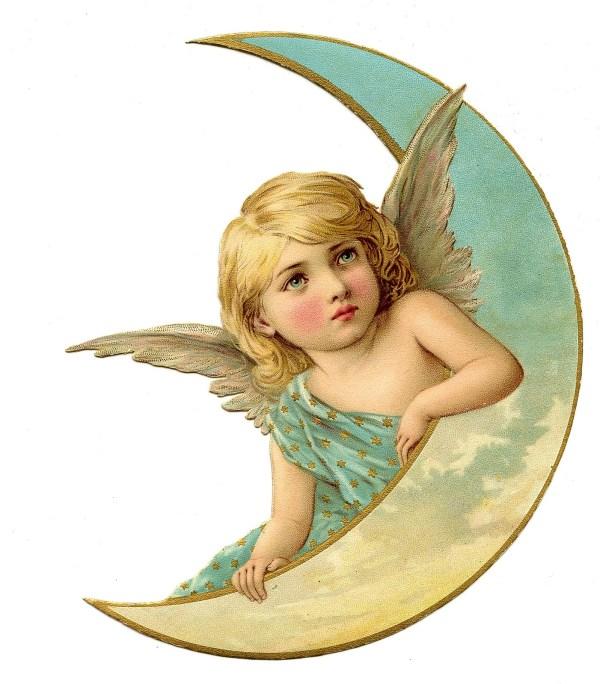 Vintage Christmas Image - Amazing Angel on Moon - The ...