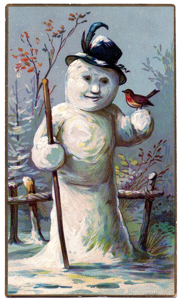 Vintage Winter Graphic - Lady Snowman - The Graphics Fairy