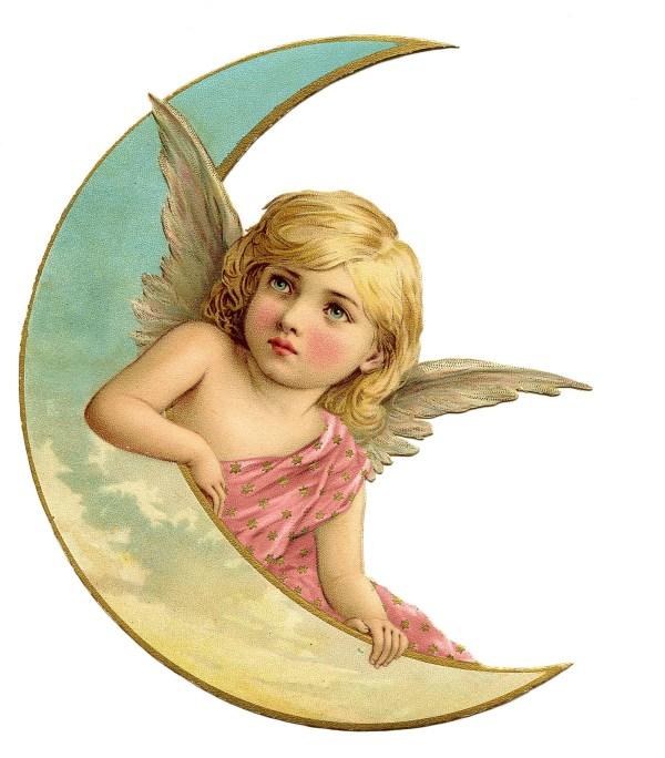 Vintage Christmas Image - Amazing Angel on Moon 2 - The ...