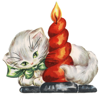 Retro Christmas Clip Art Kitten With Candle The