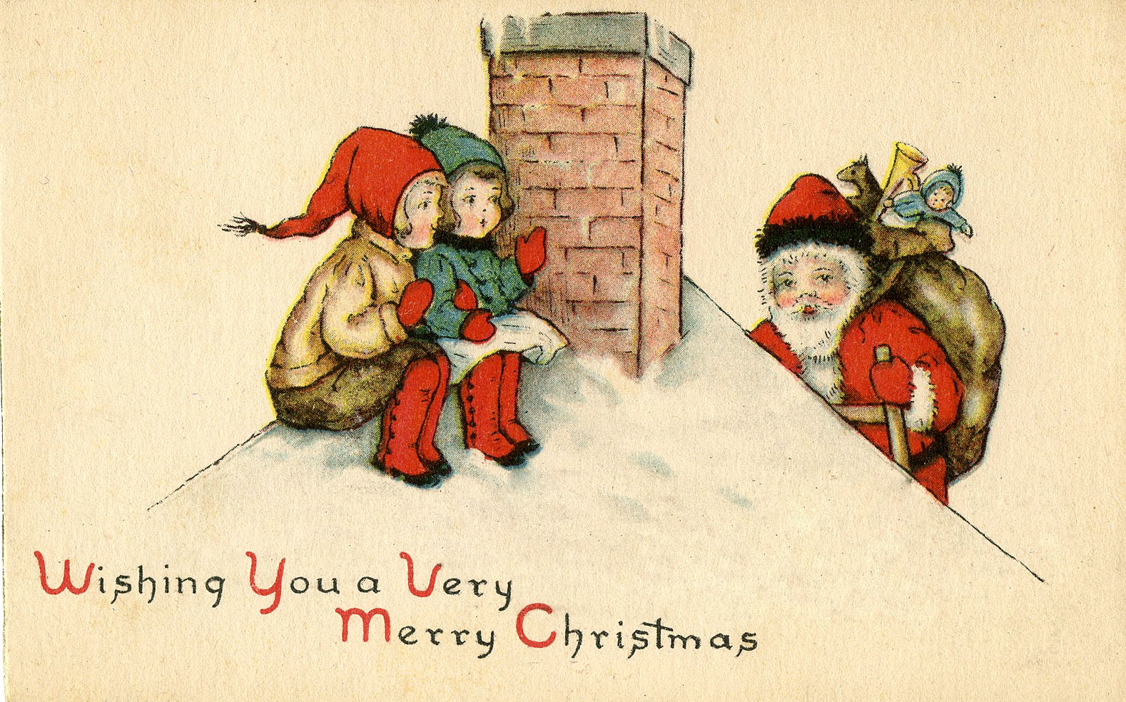 Cute Santa On Roof With Kids