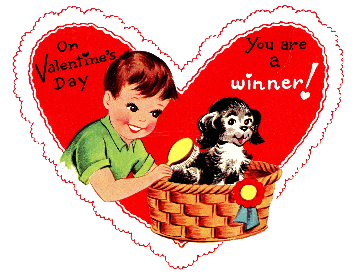 Retro Valentines Graphic Cute Boy With Pup The