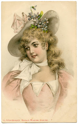 Vintage Lady Image With Easter Bonnet The Graphics Fairy