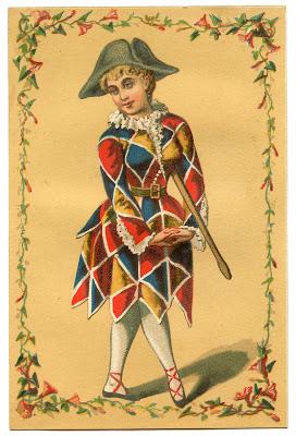 Vintage Image Harlequin Clown Girl Mardi Gras The