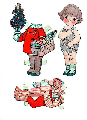 Free Printable Vintage Christmas Paper Dolls The