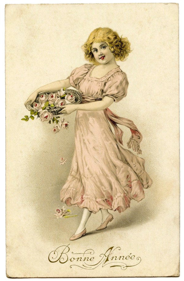 Vintage Graphic - Girl with Pink Roses - The Graphics Fairy