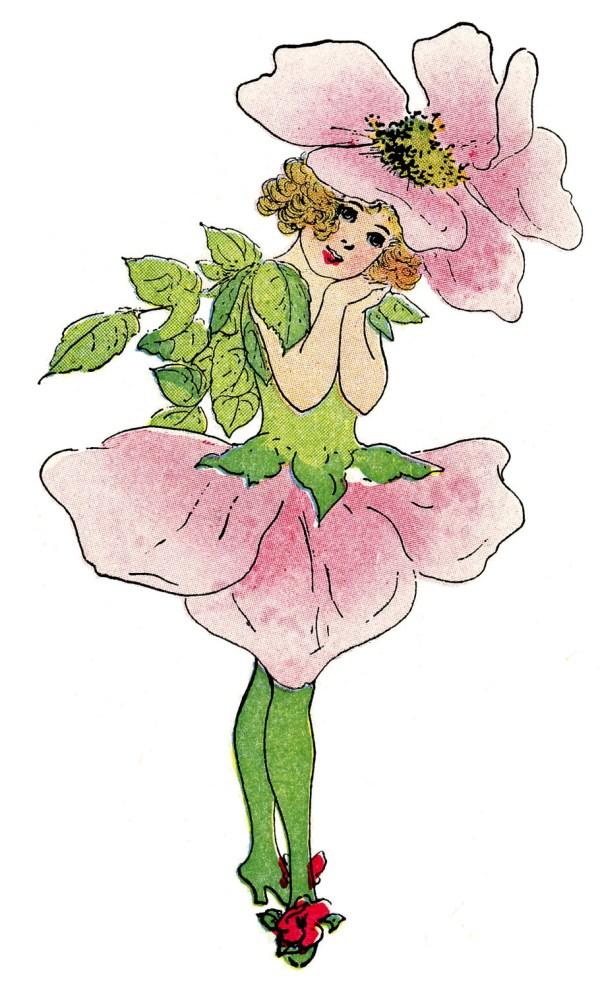 Vintage Fairy Image – Rose Flower Girl