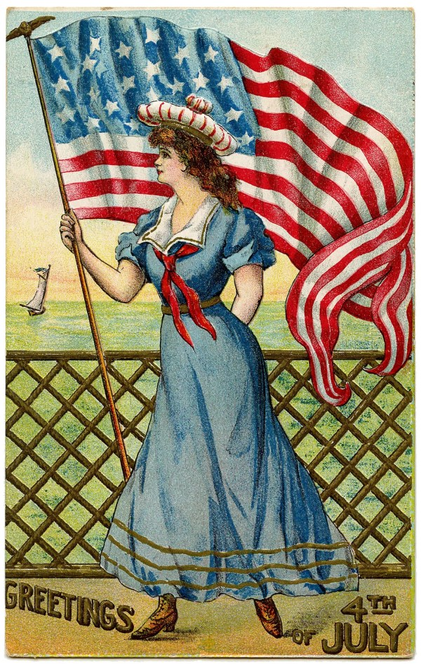 Vintage Patriotic Image - 4th of July - Sailor Girl - The ...