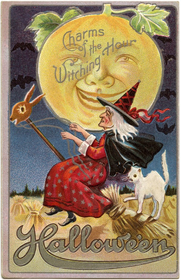 Vintage Halloween Witch Image with Moon Man - The Graphics ...