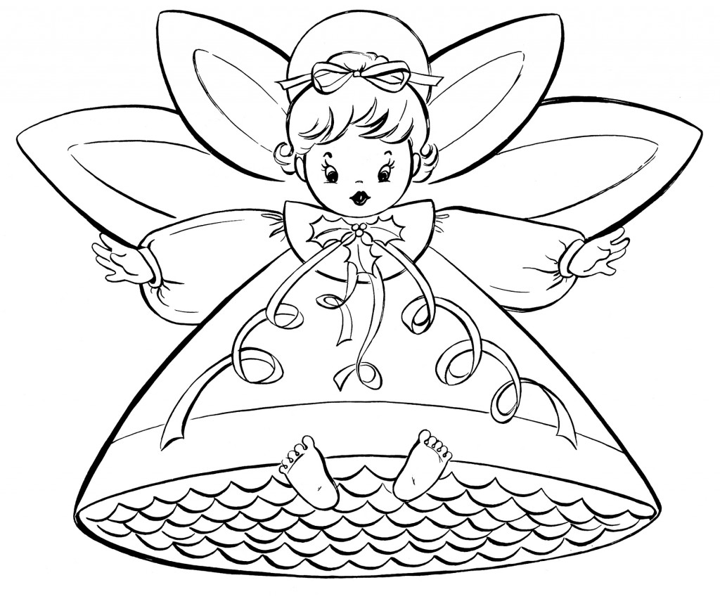 Free Christmas Coloring Pages - Retro Angels - The ... | christmas coloring pages  book
