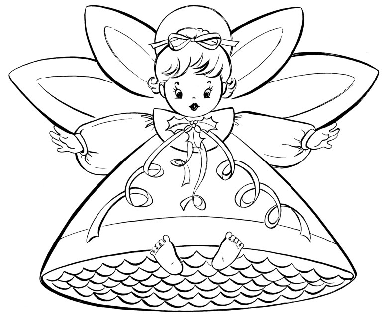 free christmas coloring pages - retro angels - the graphics fairy