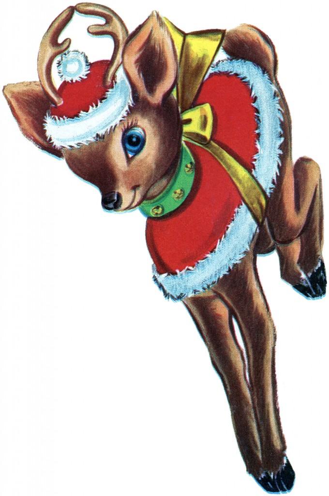 Retro Christmas Reindeer Image The Graphics Fairy