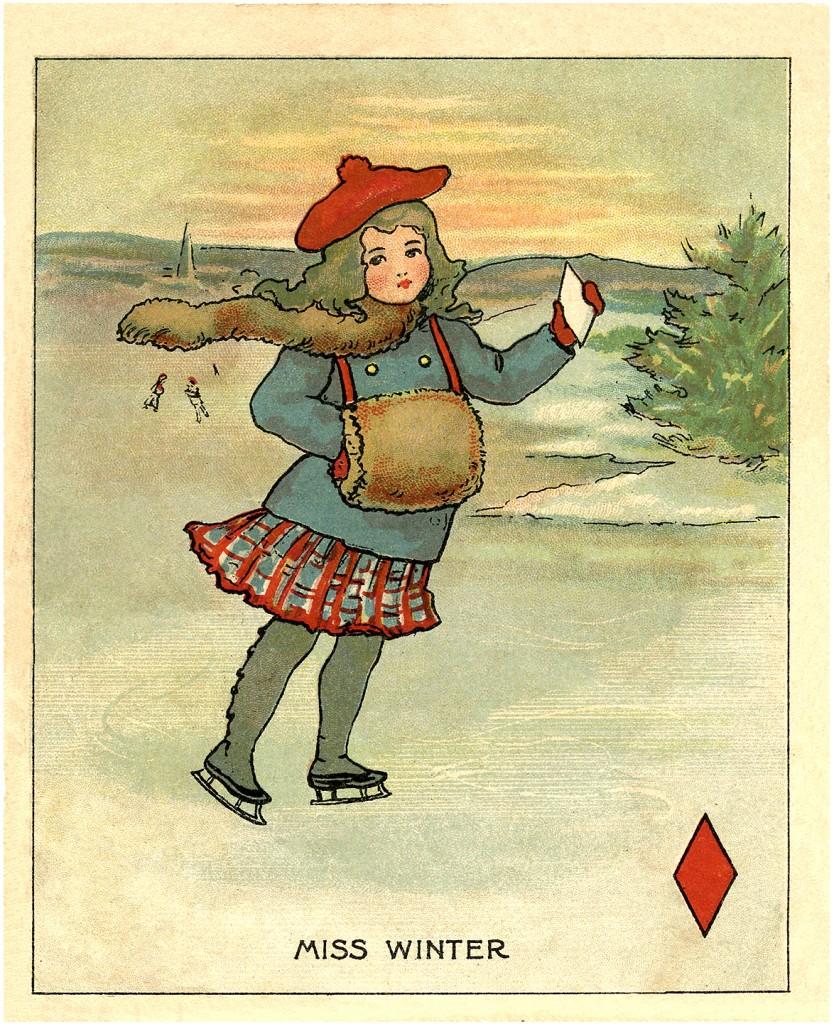 Vintage Winter Clip Art Miss Winter The Graphics Fairy